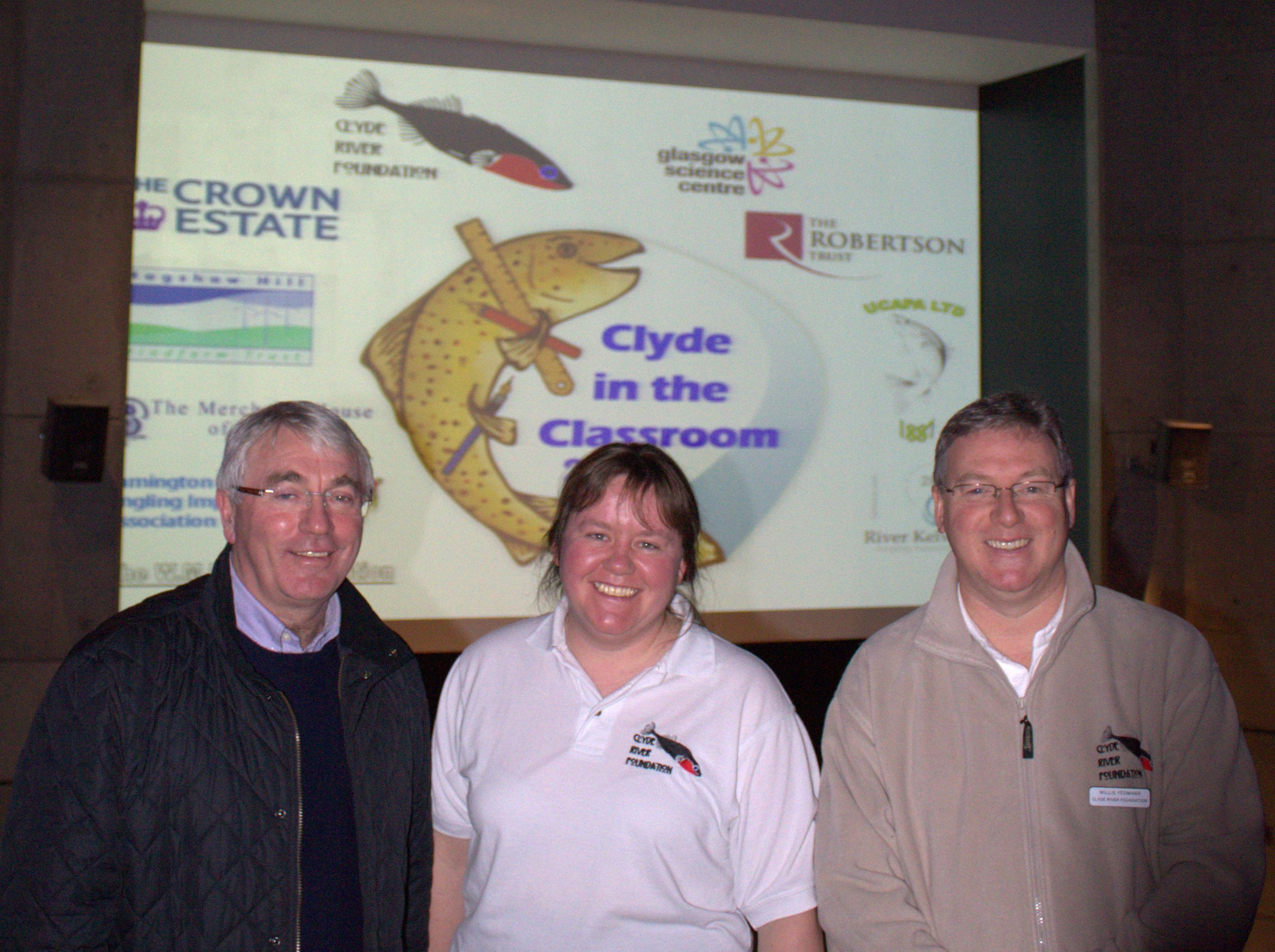 New Chairman, Robert Kerr (left) with Caroline McGillivray and Willie Yeomans at Glasgow Science Centre for the launch of Clyde in the Classroom.